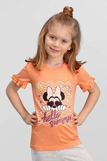 Mickey Mouse Mickey & Minnie Mouse Lisanslı Mavi Kız Çocuk T-Shirt Pembe